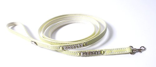 Petego La Cinopelca Soft Calfskin Teacup Dog Leash with Crystals, Sage, Long, 63 Inches