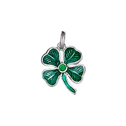 Green Shamrock Charm Pendant with Rhinestone Center Sterling Silver