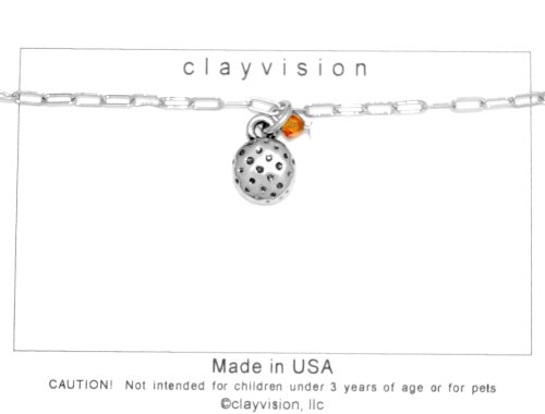 (Clayvision Golf Ball (Flat) Charm Bracelet w/4mm Topaz Colored Swarovski Crystal Orange November)