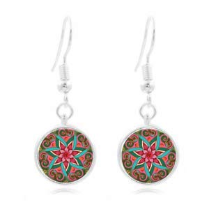 1set New 1 Tibet Silver Dome Photo Art 16MM Glass Cabochon Long Earrings mandala ()