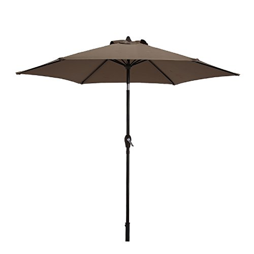 Paulla 9 Ft Patio Umbrella Outdoor Table Umbrella with Crank, 6 Ribs (Taupe) by Paulla