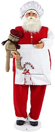 Fraser Hill Farm 58 Dancing Santa in Baking Outfit with Gingerbread Boy and Candy Cane, Life Size Holiday Home Decor, FASC058-2RD1, Red