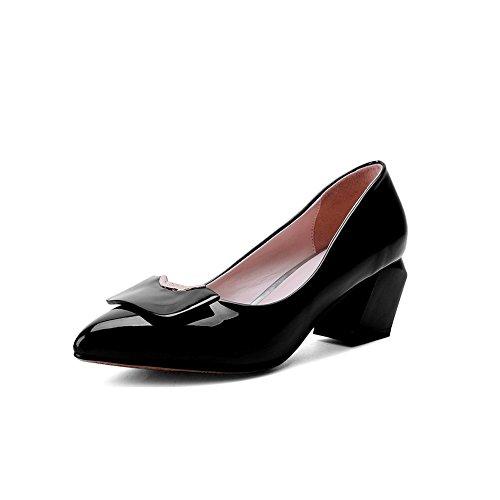 Balamasa Meisjes Slip-on Kitten-hakken Solide Geïmiteerd Lederen Pumps-schoenen Zwart
