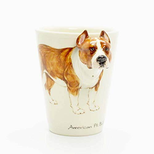 (Brown American Pit Bull Terrier Cropped Ears Dog 00009 Mug Ceramic Coffee Cup Original hand sculpt and hand paint Mug Spceial Gift for Dog lovers)