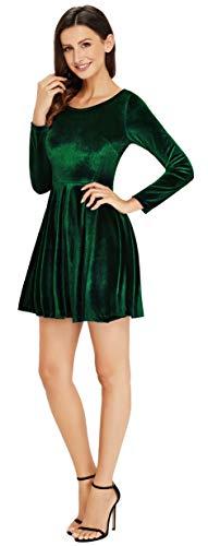 Annigo Womens Velvet Casual Short Long Sleeve Peter Pan Collar Flare ... 17db014ef