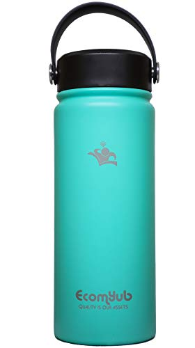 EcomYub Stainless Steel Water Bottle | Double Wall Vacuum Insulated | Perfect for Sport & Traveling | Wide Mouth Flex Cap | Keep The Liquides Hot or Cold, 18 oz Green