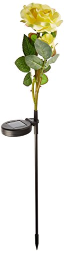 Price comparison product image Alpine Solar LED Light Garden Stake,  Yellow Rose with White