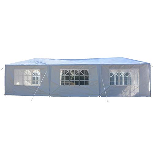 (Lovinland 10' x 30' White Canopy Outdoor Gazebo Party Wedding Tent Heavy Duty Patio Tent with 8 Walls 2 Doors)