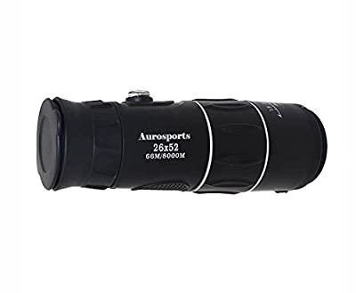 Aurosports Compact Pocket-Sized 12X52 High-Powered Monocular Telescope Binoculars With Bult in Compass With Low-Light Level Night Vision Device