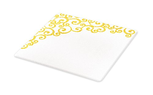 Lunarable Baroque Cutting Board, Side Frame of Floral Ivy Round Swirl with Antique Victorian Details Artwork, Decorative Tempered Glass Cutting and Serving Board, Small Size, Yellow and White