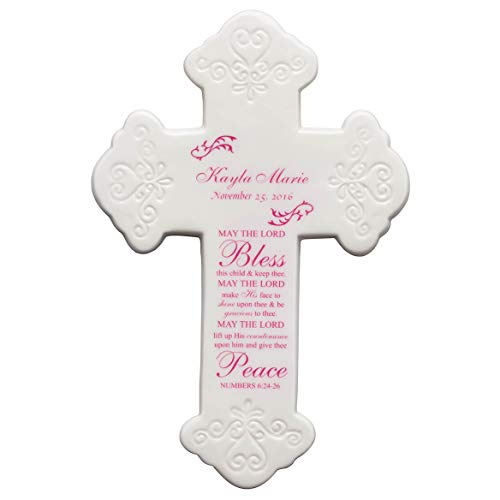 Fox Valley Traders Personalized Bless This Child Ceramic Cross, Pink ()