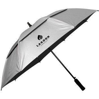 "Custom 50 ""Auto abierto Sunbuster paraguas (plata negro) – 48 unidades promocional"