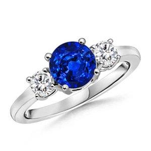 Angara Blue Sapphire Three Stone Ring White Gold 1Ta1Cxa5