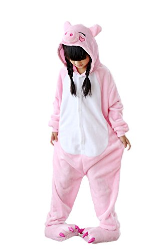 [Newcosplay Childrens Unisex Halloween Cosplay Onesie Pajamas Costumes Party Dress (105#, Pink Pig)] (Little Pig Costumes)