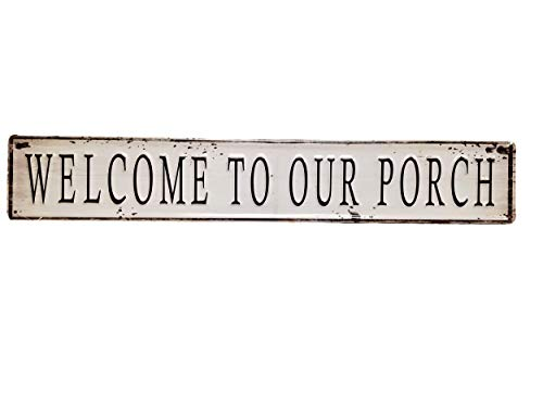 AT Painted Distressed Metal 23 Inch Decorative Wall Sign (Welcome to Our Porch)