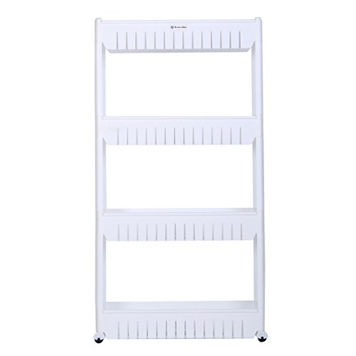 Home-Man Mobile Shelving Unit Organizer with 4 Large Storage Baskets, Gap Storage Slim Slide Out Pantry Storage Rack for Narrow Spaces, 4 Tier (Slide Out Storage Basket)
