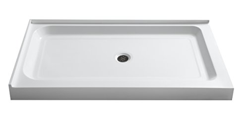 "ANZZI Vail 48"" x 36"" Double Threshold Rectangluar Center Drain Location Shower Base in Glossy White 
