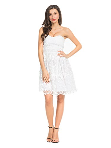 (Joeoy Women's White Floral Lace Sweetheart Bodice Strapless Fit and Flare Short Dress-M)