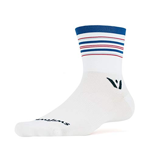 Swiftwick- ASPIRE FOUR | Socks Built for Trail Running & Cycling | Fast Drying, Firm Compression Crew Socks | Striped White, Blue, Red, Small