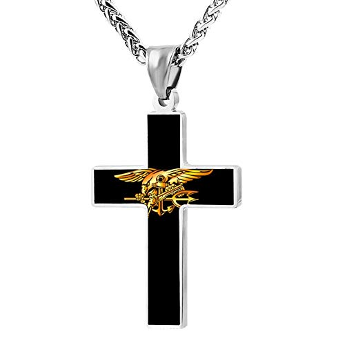 - M100% 2018 Navy Seal Eagle Trident Logo Metal Religious Zinc Alloy Stainless Silver Steel Cross Necklace Holder Pearl Chain Urn Pendants