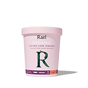 Rael Organic Cotton Compact Tampons - Plant Based Applicator, Chlorine Free, Compact Applicator with Leak Locker Technology (36ct Total), Pack of 2 (Super Plus)