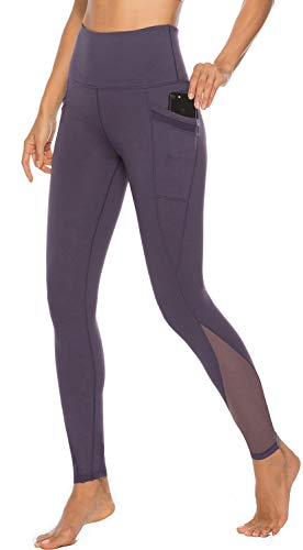 Persit Yoga Pants for Women with Pockets High Waisted Purple Mesh Workout Leggings Athletic Gym Soft Yoga Leggings - Purple - L