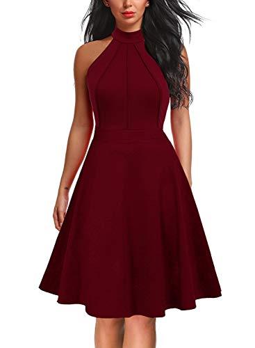 - Berydress Women's Sleeveless Halter Neck A-Line Casual Party Dress (M, 6012-Burgundy)