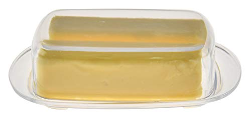 HOME-X Clear Acrylic Butter Dish with Cover, Plastic Covered Cheese Holder with Tray