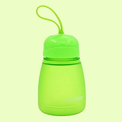 Rosa HUANGMENG Taza 308ml Botella de agua linda de pl/ástico con tapa de rosca para ni/ños HUANGMENG Color : Green