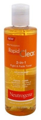 Neutrogena Rapid Clear 2-in-1 Fight & Fade Toner 8 oz (Pack of 2) (Salicylic Acid And Benzoyl Peroxide Face Wash)