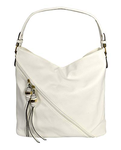 Tasseled Hobo Handbag - Peach Couture Decorative Cross Bag Zipper Smooth Hobo Fashion Shoulder Bag for Women Ivory
