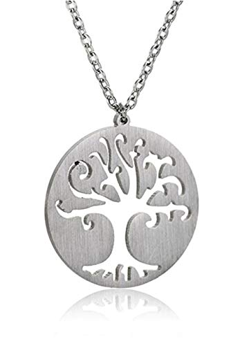 Silver Love Sterling Disc (925 Sterling Silver Tree of Life Disk Pendant Necklace 18
