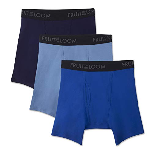 Fruit of the Loom Men's Breathable Underwear, Cotton Mesh - Assorted Color - Boxer Brief, Large