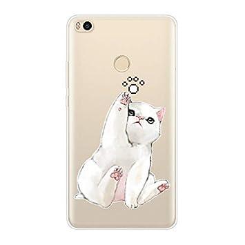 Aksuo Funda For Xiaomi Mi MAX 2 , TPU Anti-Rasguño Anti-Golpes Cover Protectora Transparente Claro TPU Caso Bumper Slim Silicona Case - Gato Jugando