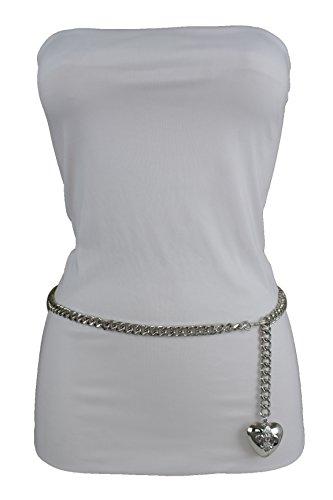 TFJ Women Fashion Skinny Belt Narrow Hip High Waist Silver Metal Chain Love Heart Buckle M L XL by Trendy Fashion Jewelry (Image #2)