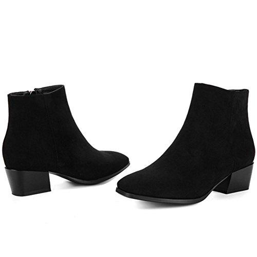 Stacked Booties Inside Zipper Women Black Ankle RAZAMAZA Western Heel wBSqIxwO0
