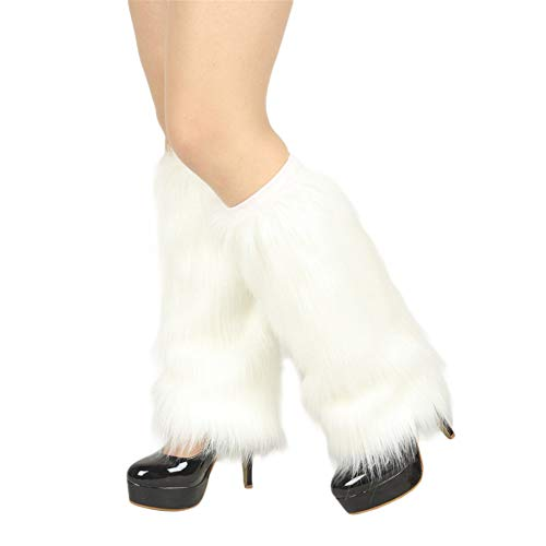 Womens Furry Leg Warmers Super Soft Rainbow Boots Shoes Cuffs Covers, Ladies 80s Party Club Leg Accessories ()