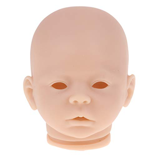 (SM SunniMix 18inch Soft Silicone Vinyl Lifelike Baby Doll Head Sculpture Mold for Reborn Custom DIY Making Parts Normal Skin)