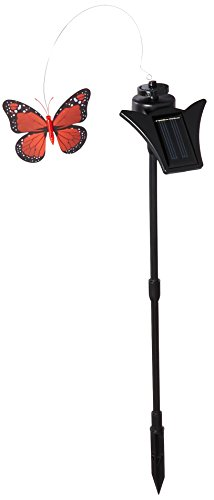 """GSL SS S0348R Solar Powered Red Monarch Butterfly, 6.65"""""""