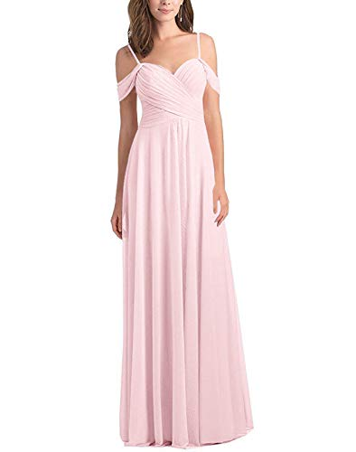 Women Off The Shoulder A Line Long Chiffon Bridesmaid Dress for Wedding Party(Blushing Pink,US12)