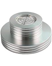 XiaoMall - Estabilizador de disco con abrazadera de metal para reproductor de discos de vinilo, vibración, aluminio plateado