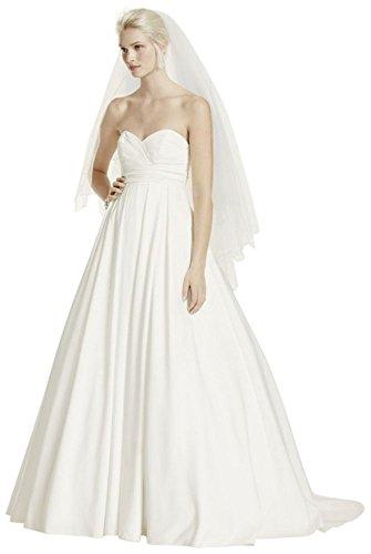 David's Bridal Pleated Strapless Wedding Dress with Empire Waist Style WG3707, Soft White, 14