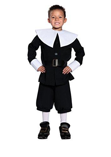 Underwraps Big Boy's Pilgrim Boy Costume, Large Childrens Costume, black, Large