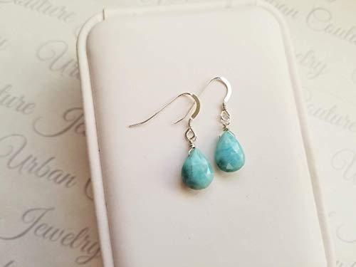 Caribbean Larimar Earrings, Dainty Earrings, Silver Earrings, Birthday Gift, Blue Caribbean Larimar Jewelry, Sterling Silver Dangle Earrings