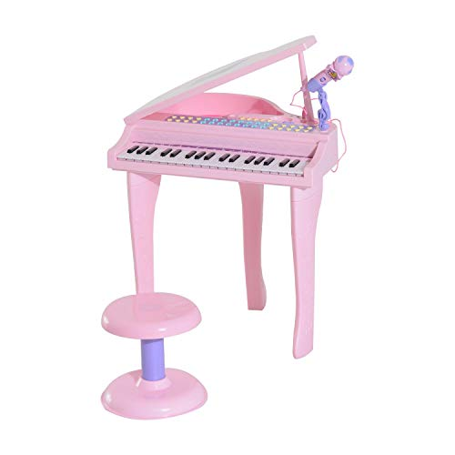 Festnight 37 Key Kids Miniature Grand Digital Piano Baby Piano Toy with Microphone and Stool Black