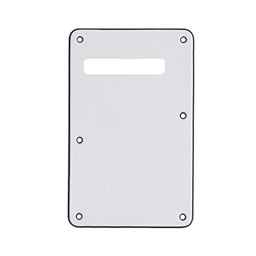 (IKN 3Ply White Back Plate Tremolo Cavity Cover Electric Guitar BackPlate for FD Strat Guitar Replacement)