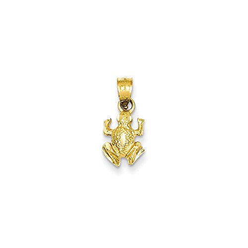 14k Solid Yellow Gold Diamond-Cut Frog Pendant (16mm x (14k Solid Yellow Gold Frog)
