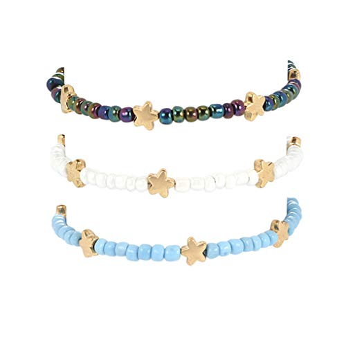 Tgirls Boho Beaded Anklets Gold Star Ankle Bracelet Beach Foot Chain for Women and Girls