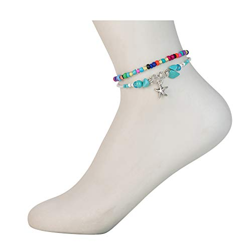 Augonfever Starfish Ankle Bracelets Bohemian Handmade Colorful Turquoise Beads Charms Anklets for Women