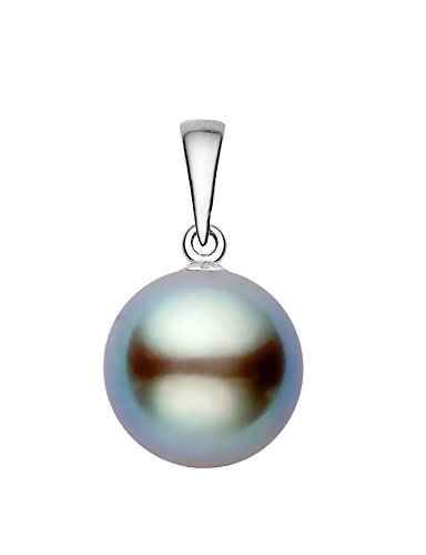 14K White Gold AAAA Quality Light Gray Tahitian Cultured Pearl Pendant (9-10mm)